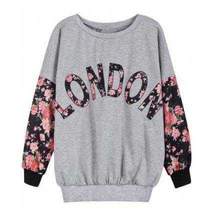 Sueter London Detalhes Florais | Moletons femininos, Roupas