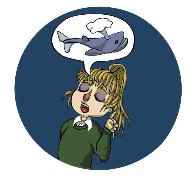 Ilustración para un trabajo de clase, en el que en vez de ojerosa parece una niña pintada