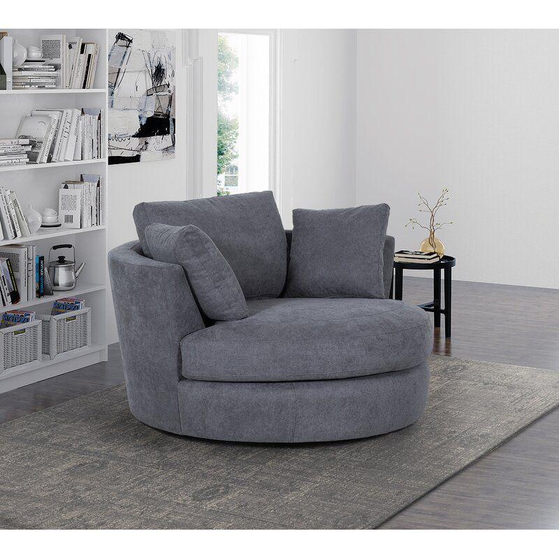Anoushka 53 60 Wide Swivel Barrel Chair In 2021 Swivel Barrel Chair Barrel Chair Swivel Chair Living Room