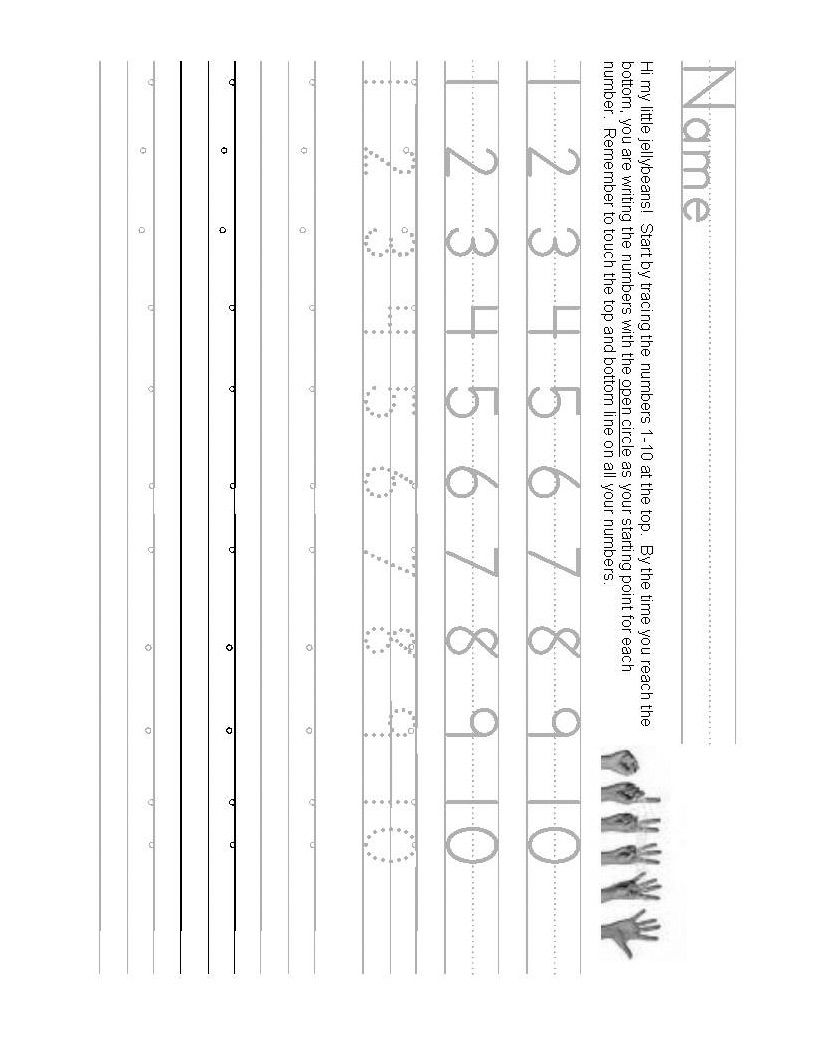Number writing worksheet 1-10