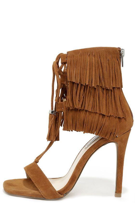 a1ff2de1ad3 Steve Madden Shay Chestnut Suede Leather Fringe Heels at Lulus.com!