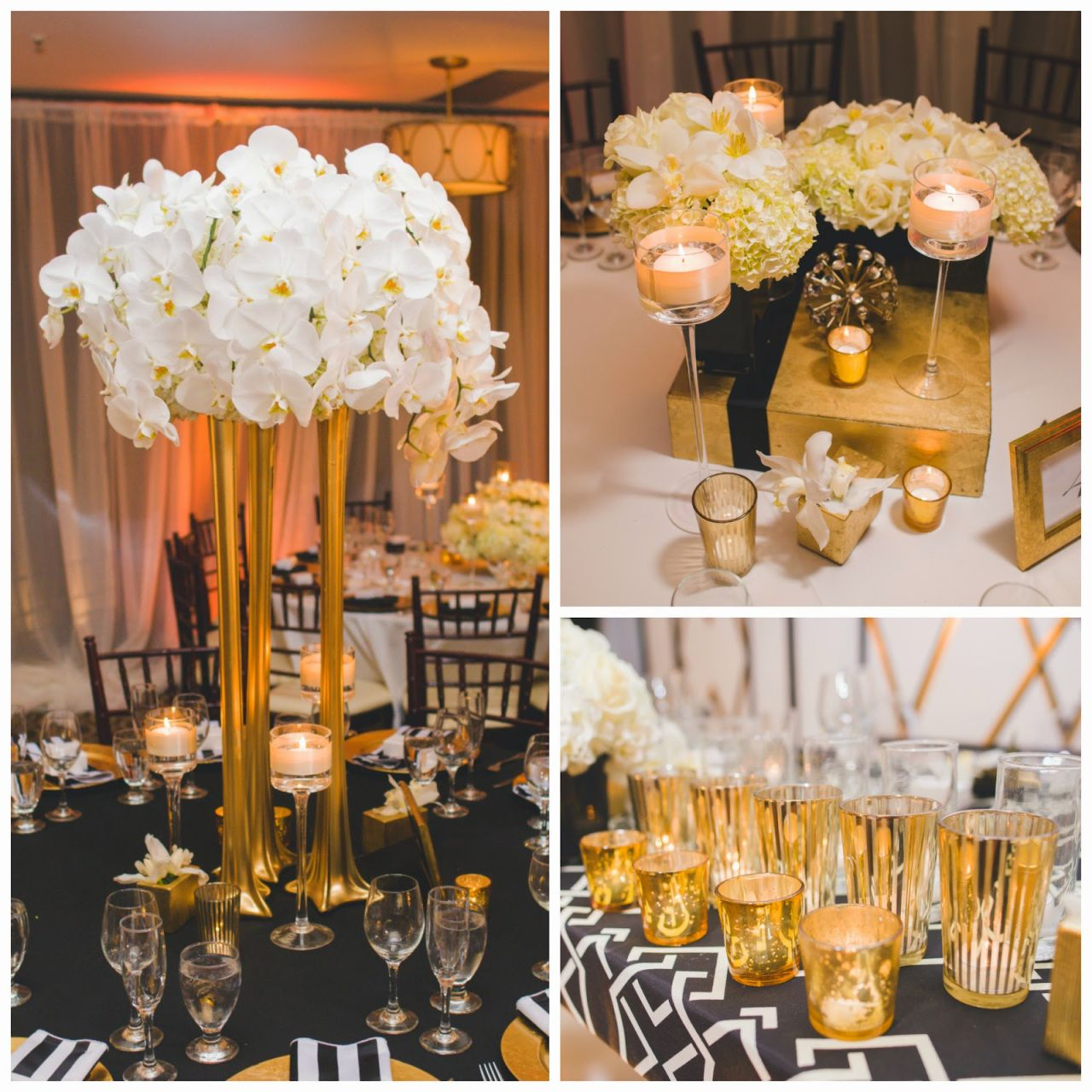 Wedding decorations black and gold  Real Wedding Art Deco White Black and Gold Wedding at Los Verdes