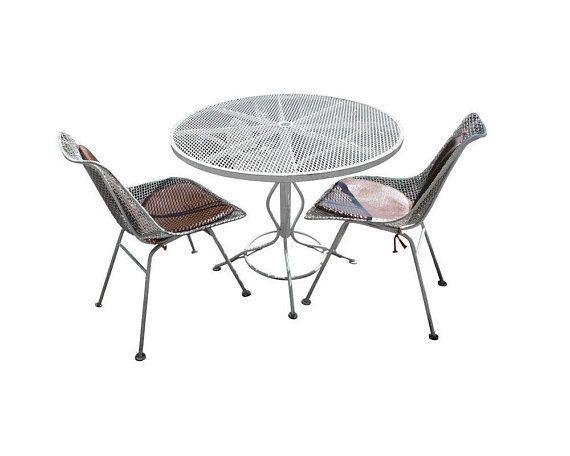 Mid Century Modern Woodard Sculptura Patio Table Set 2 Chairs