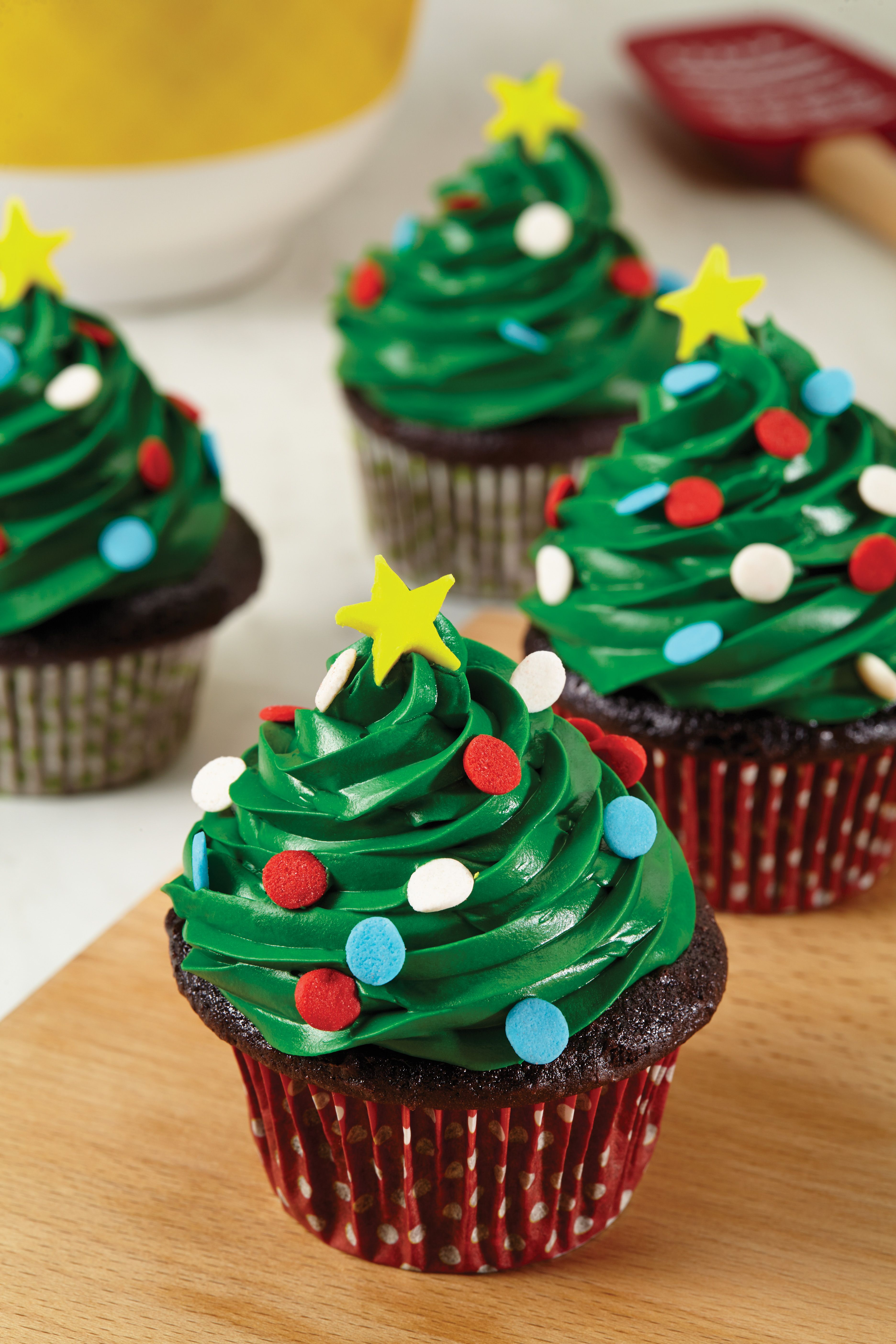 Top Chocolate Cupcakes With Festive Frosting Holiday Sprinkles And