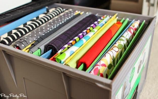 Sewing Room Organization Ideas 11 Brilliant Ways to Store Fabric is part of File Organization Ideas - Take your sewing room organization to the next level! Find the most effective ways to store your bolts of fabric to keep your sewing efficient!