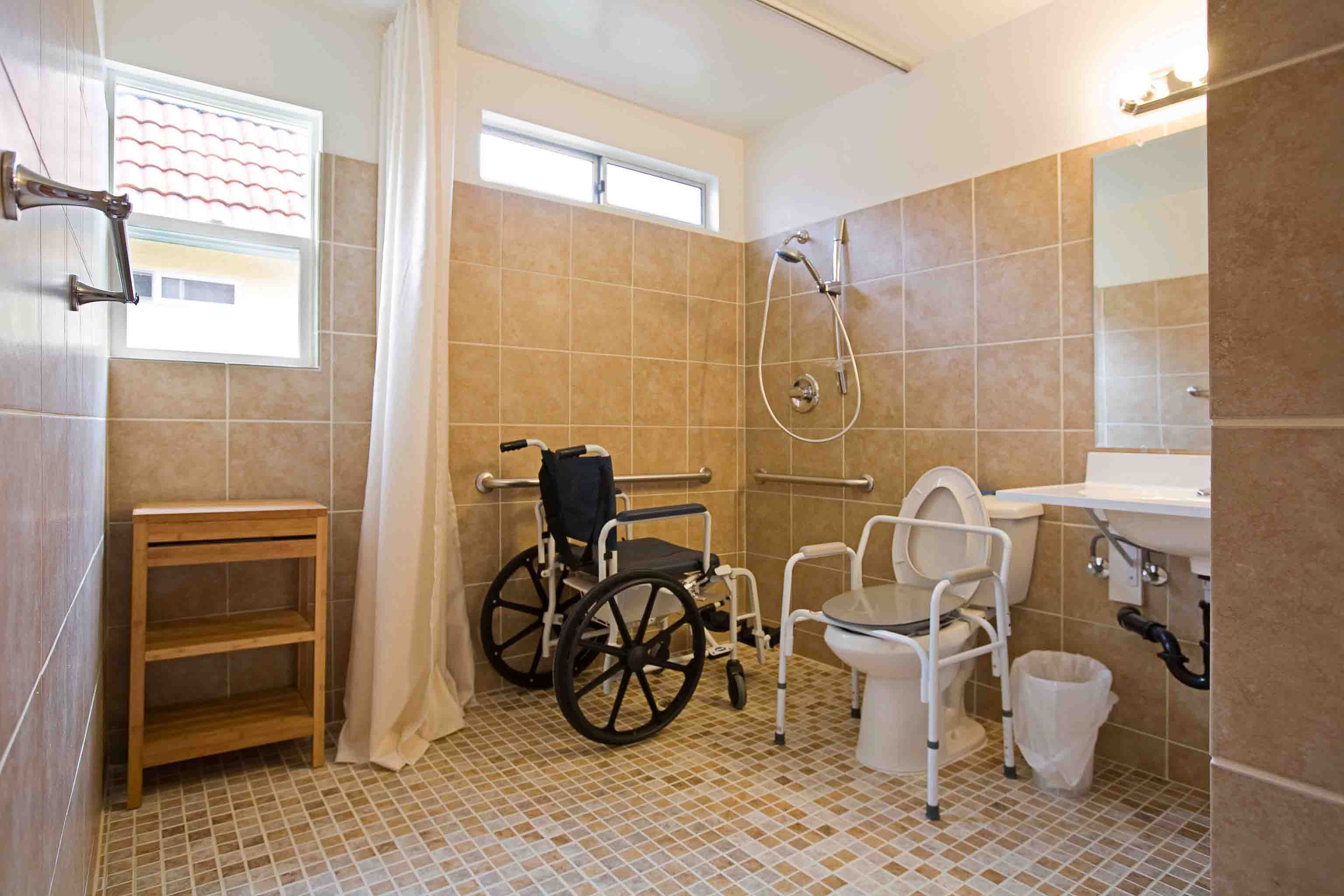 Roll in Shower with shower wheelchair | Handicap Accessible ...