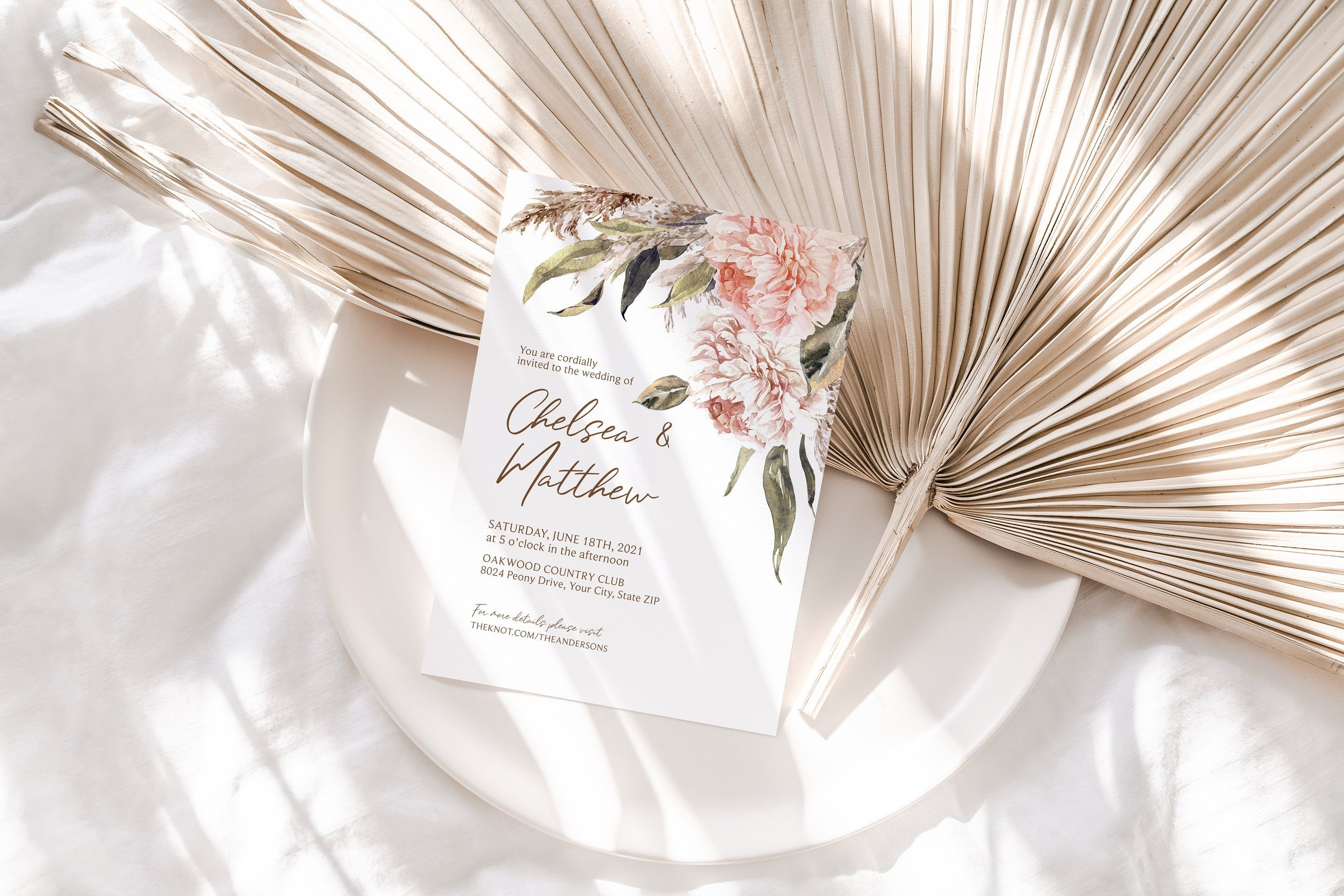 Blush Muted Tones Geometric Wedding Announcement Editable Corjl Template 113 Pampas Grass and Pink Rose Wedding Save The Date Card