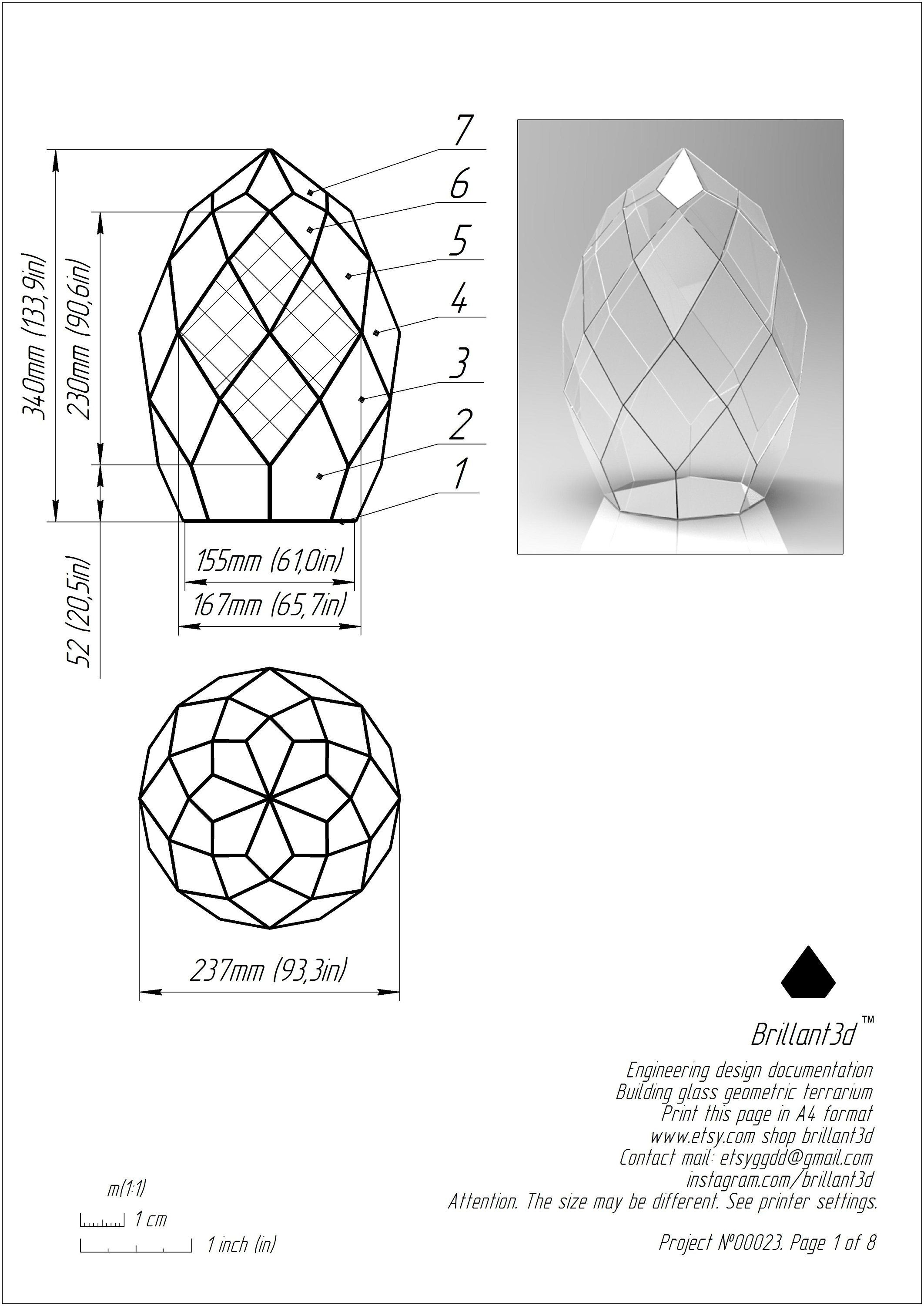 Printable Pattern Stained Glass Terrarium Schem Geometric Etsy