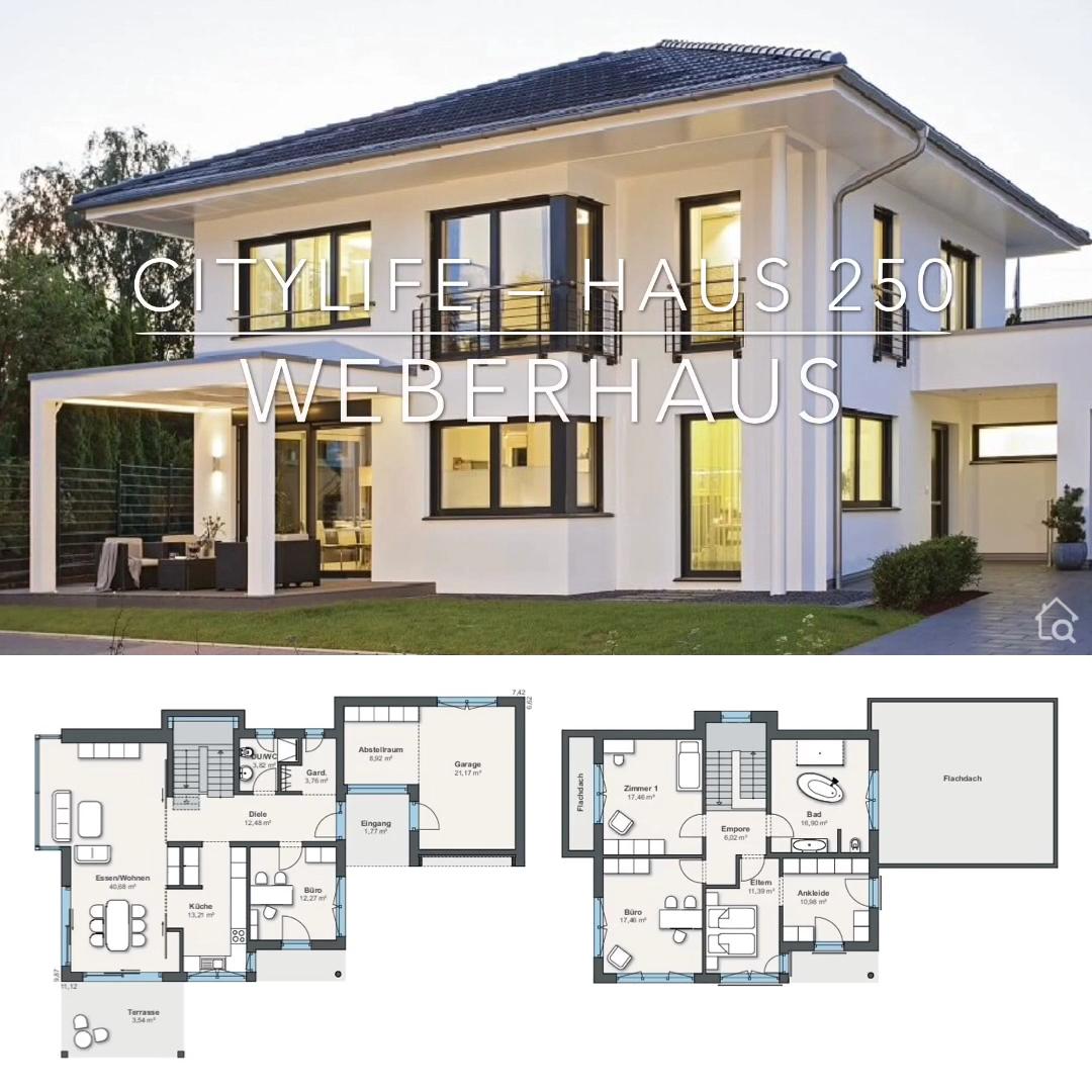 Stadtvilla modern mit Walmdach bauen Haus Grundriss mit Garage & Putz Fassade