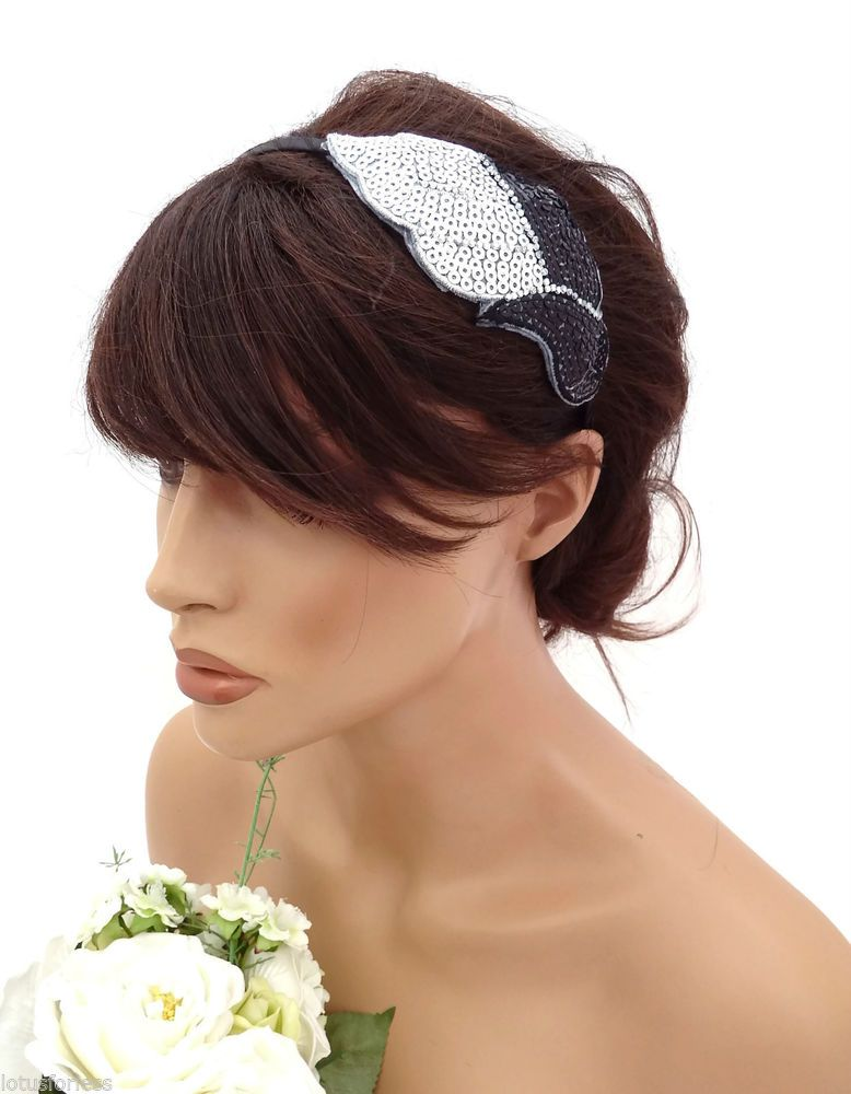 Ladies Black /& Silver Tinsel Feather Hair Clip Fascinator Fancy Dress Accessory