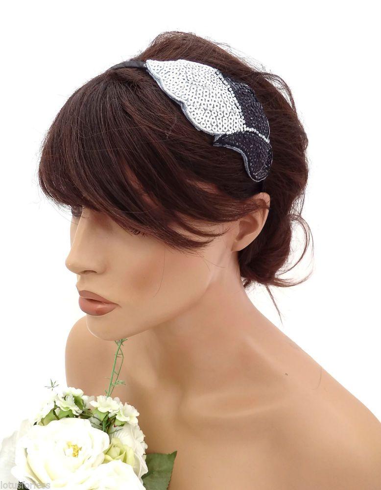 20's Style Silver Black Sequin Crystal Leaf design sequin fascinator headband