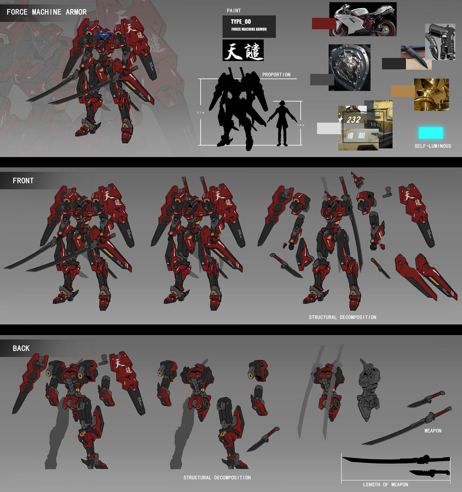 ArtStation 天谴机甲完整设计, Sure Wang Robots concept, Robot
