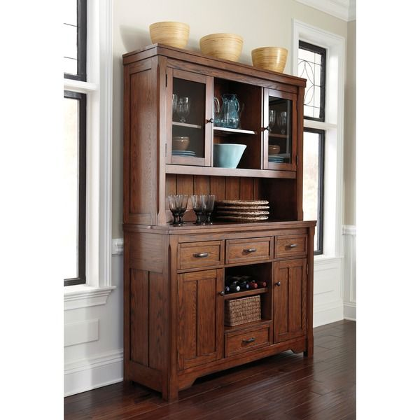 signature designs by ashley chimerin medium brown dining room buffet and hutch. Black Bedroom Furniture Sets. Home Design Ideas