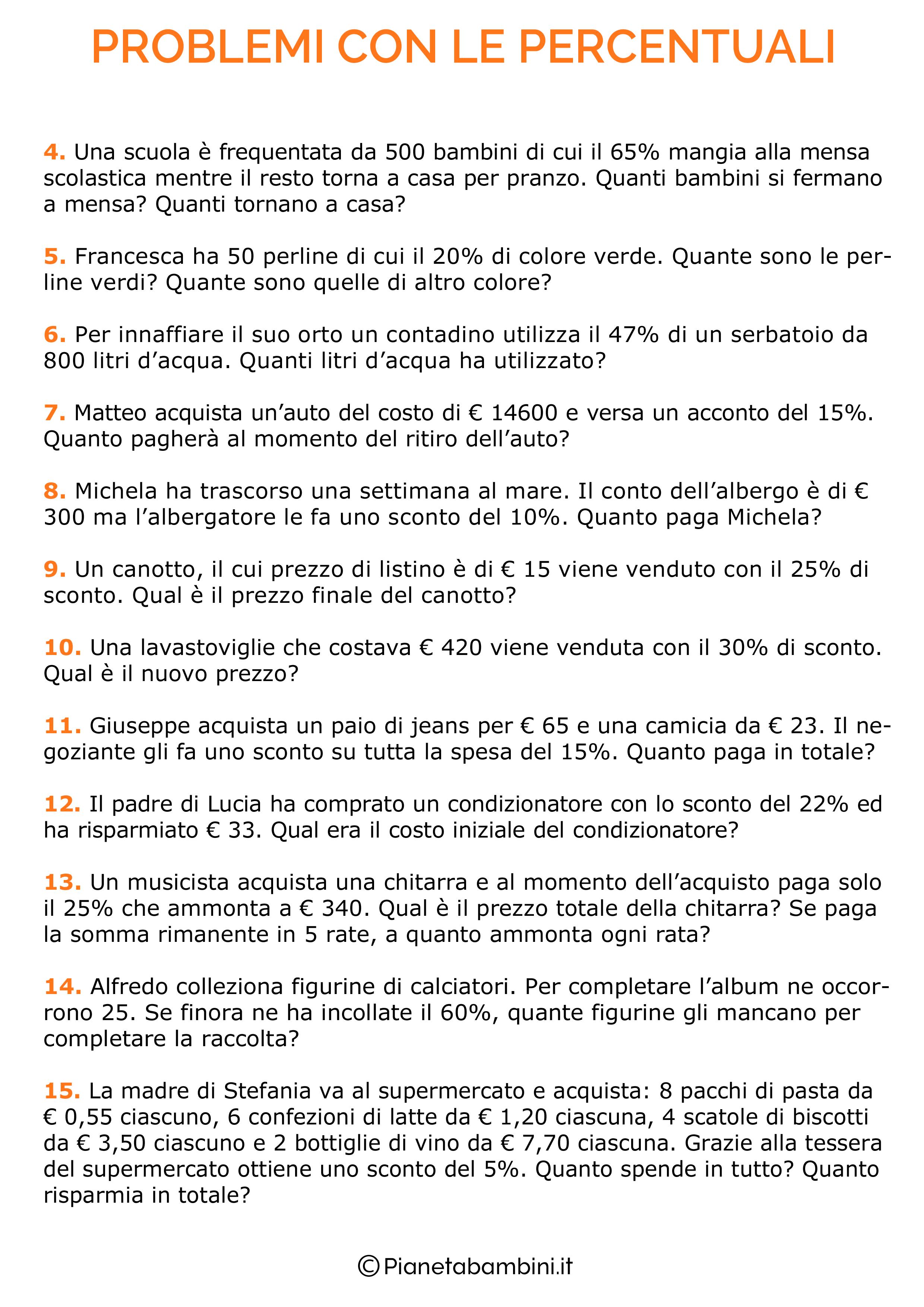 Come si risolvono i problemi con le percentuali?