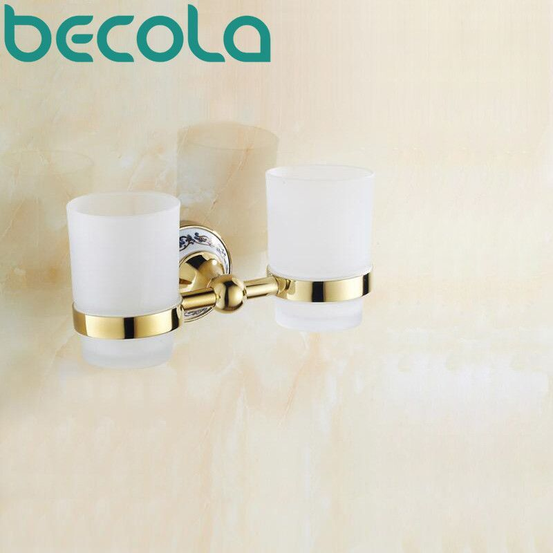 Ceramic Gl Br Bathroom Accessories Gold Plated Double Cup Holders Toothbrush Holder