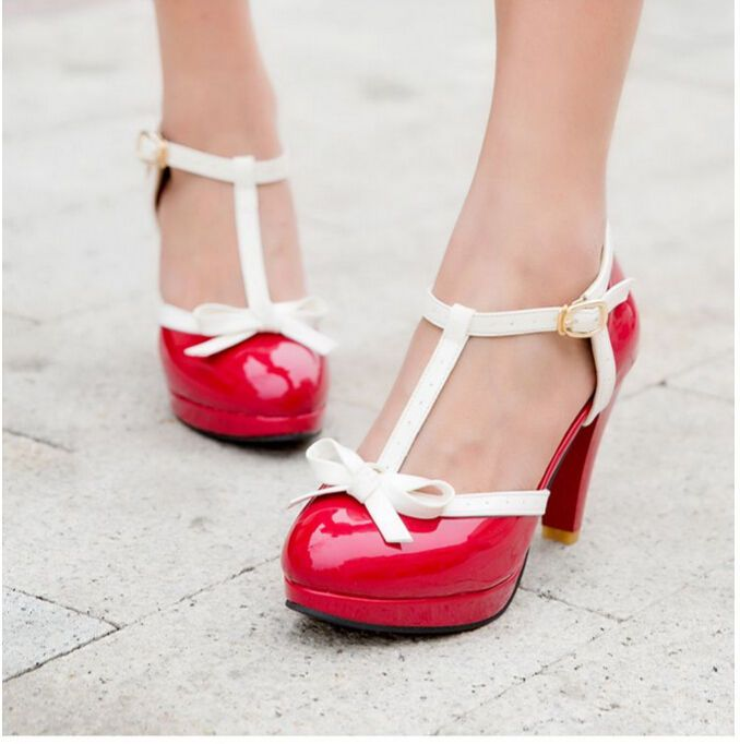 0682c1996d5d Womens T Strap Bar Lita Bow High Heel Oxford Pump Retro Mary Janes Plus Size