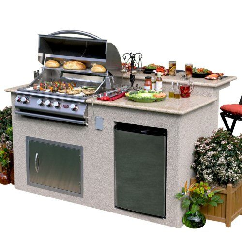 Cal flame bbq island with 32 inch cal flame natural gas for Gasgrill fur outdoor kuche