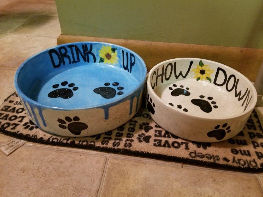 Painted Dog Bowls By M Daly Ceramic Dog Bowl Dog Bowls Dog Bowls Diy