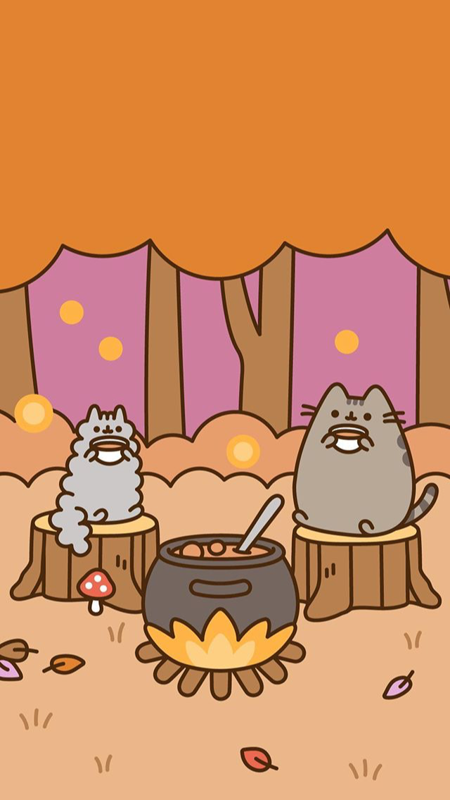 Pusheen Fall Wallpaper Phone Background Pusheen Pusheencat Fall Autumn Cat Fire Hotpot Wallpaper Background P Pusheen Cute Pusheen Cat Fall Wallpaper