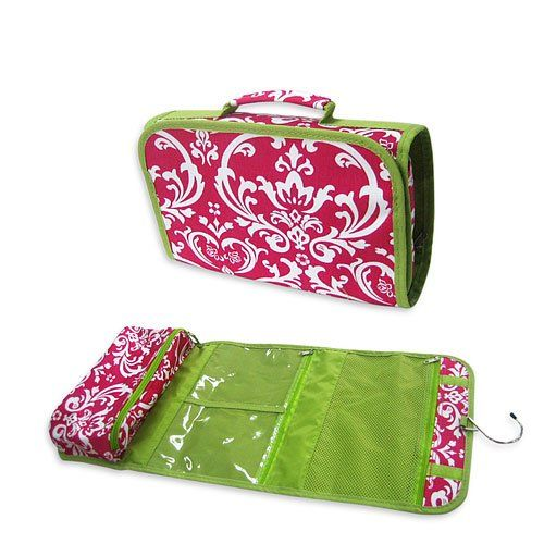 Amazon.com : Pink Floral Hanging Travel Toiletry Cosmetic Bag ...