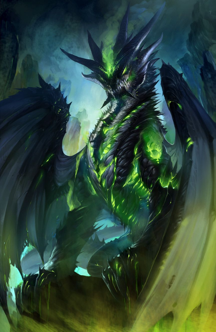 dragon noir et vert fantasy dragons pinterest dragon. Black Bedroom Furniture Sets. Home Design Ideas