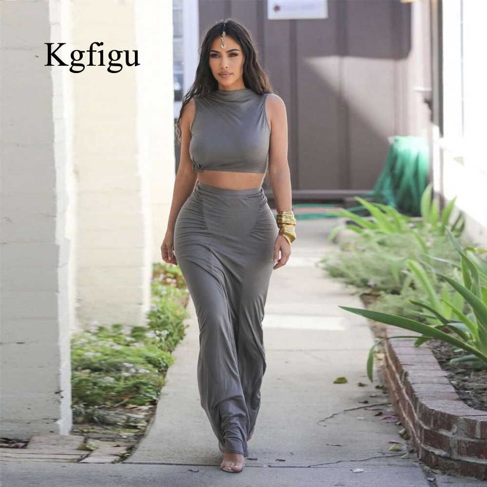 Kgfigu Gray Stretchy Snug Outfits Women Party Tank Tops And Long Ruched Skirts Sets Summer Two Piece Matching Tracksuit Dress Suits Aliexpress Kim Kardashian Skirt Indian Headpiece Fashion [ 1000 x 1000 Pixel ]