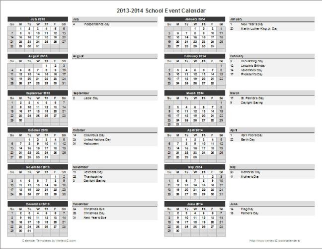 school calendar 2015 template