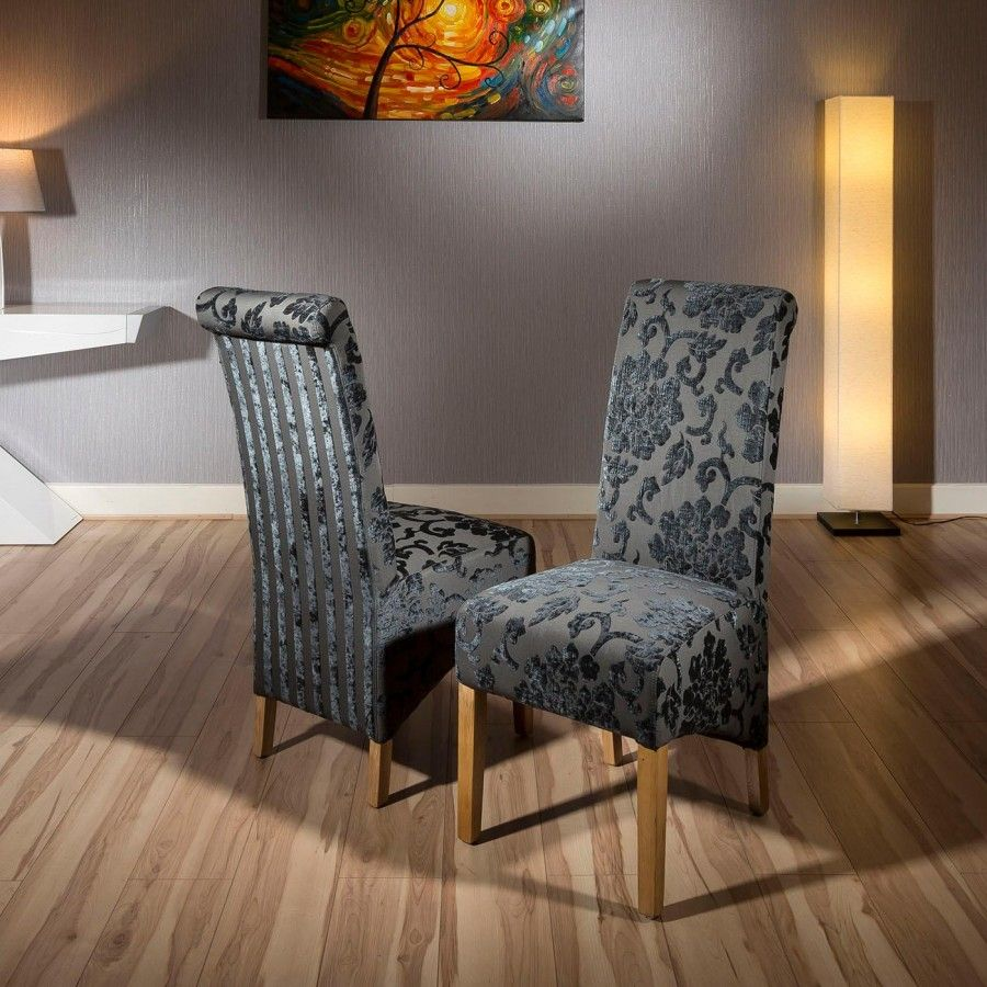 Luxury Set Of 2 High Back Fabric Dining Chairs Black Grey Baroque New Large