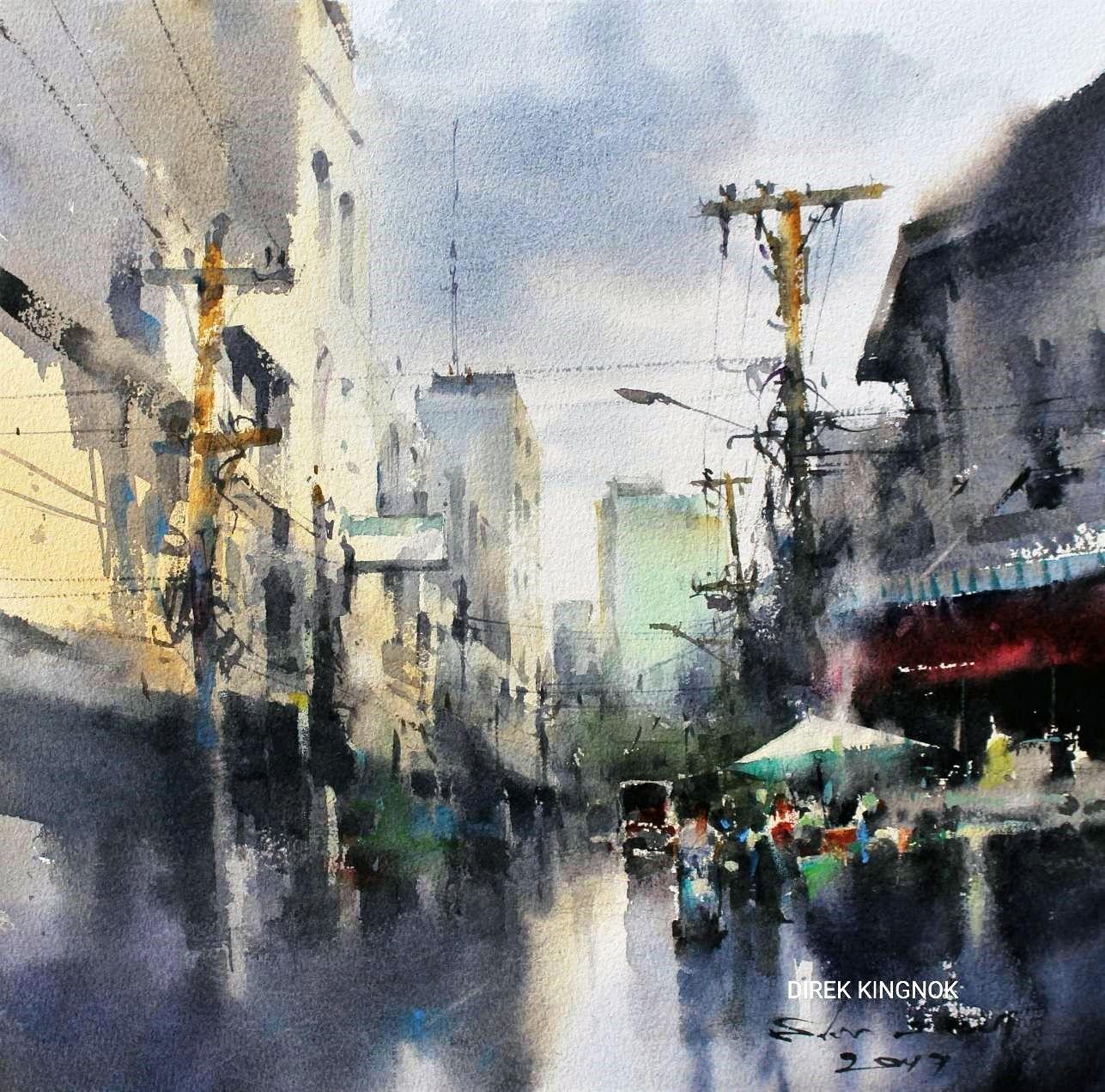 Direk kingnok banrak bangkok painting watercolor art