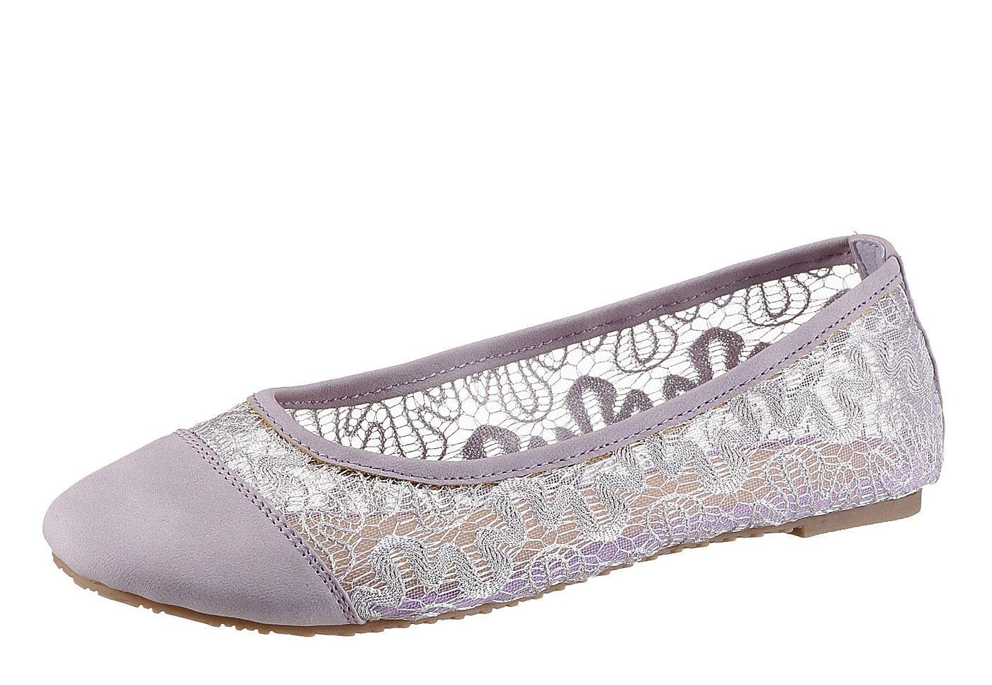 City Walk Ballerina aus Textil und Lederimitat, ungefüttert, Innensohle: Synthetik, Laufsohle: Synthetik, Schuhweite: normal (Weite F)....