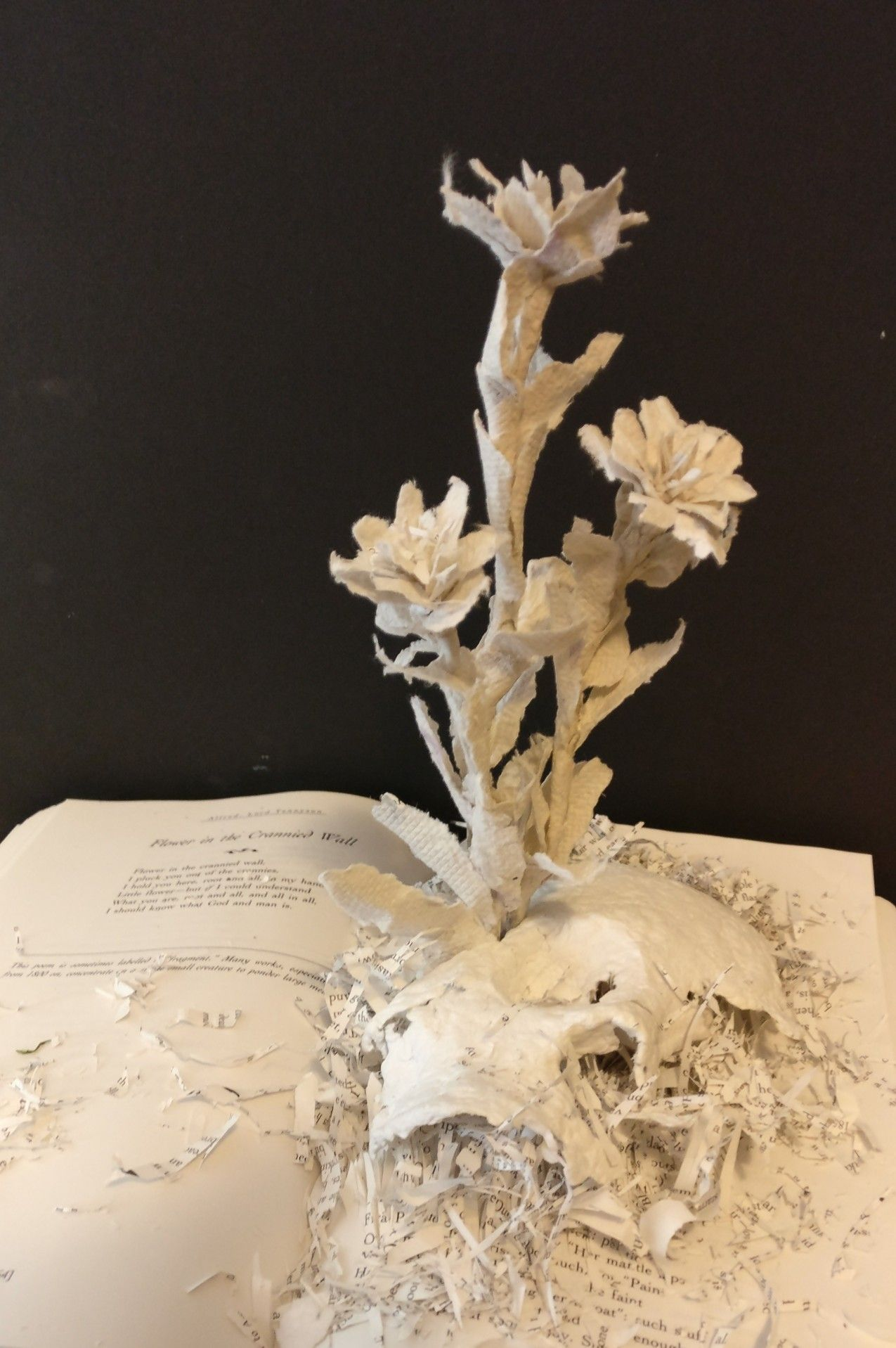 Renewal Work In Progress Paper Sculpture With Paper Flowers And