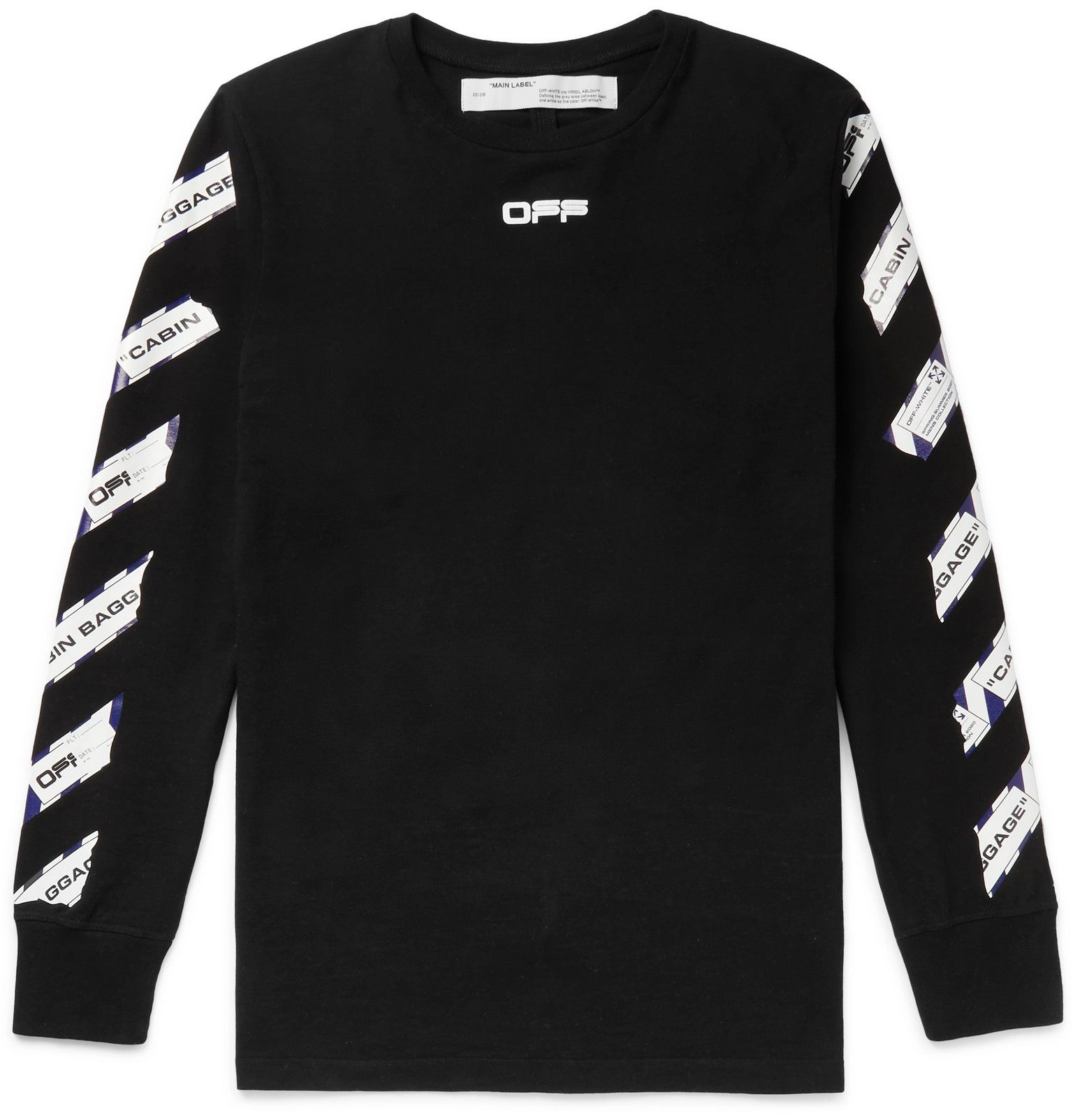 Off White Printed Cotton Jersey T Shirt Men Black Hoodie Outfit Men Long Sleeve Tshirt Men Shirts [ 1604 x 1536 Pixel ]