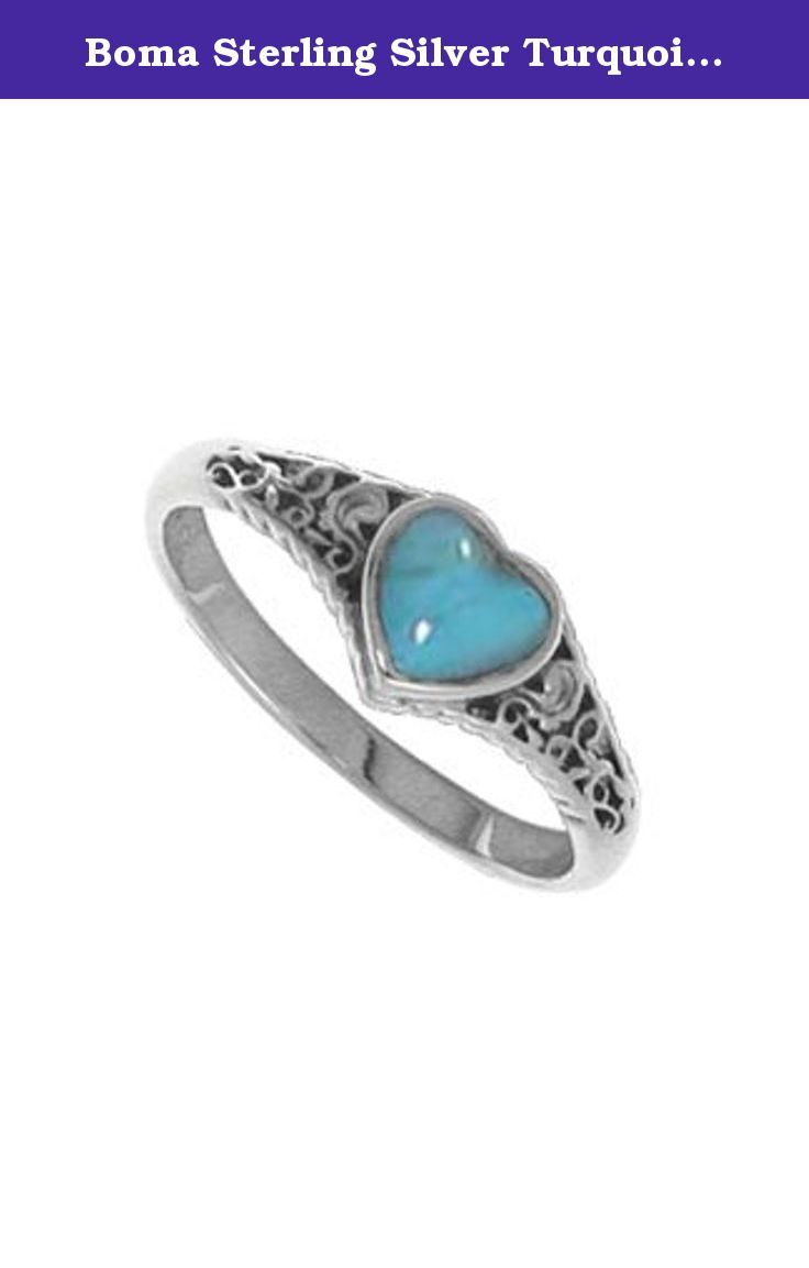 Boma Sterling Silver Turquoise Heart Ring, Size 5. Boma Sterling Silver Carnelian Heart Ring - Lovely sterling silver ring with turquoise heart and filigree accents. Available in whole sizes 6-8. Boma Jewelry: Guaranteed for Life. RA 1799TQ.