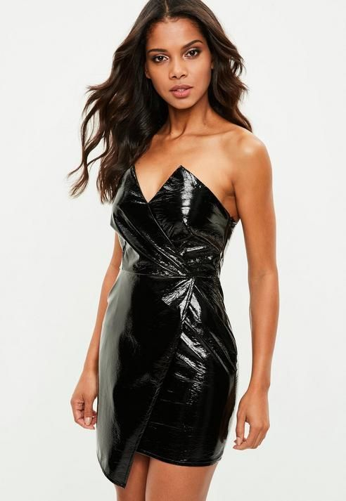 b37bccb2006 Missguided Petite Black Vinyl Bandeau Mini Dress