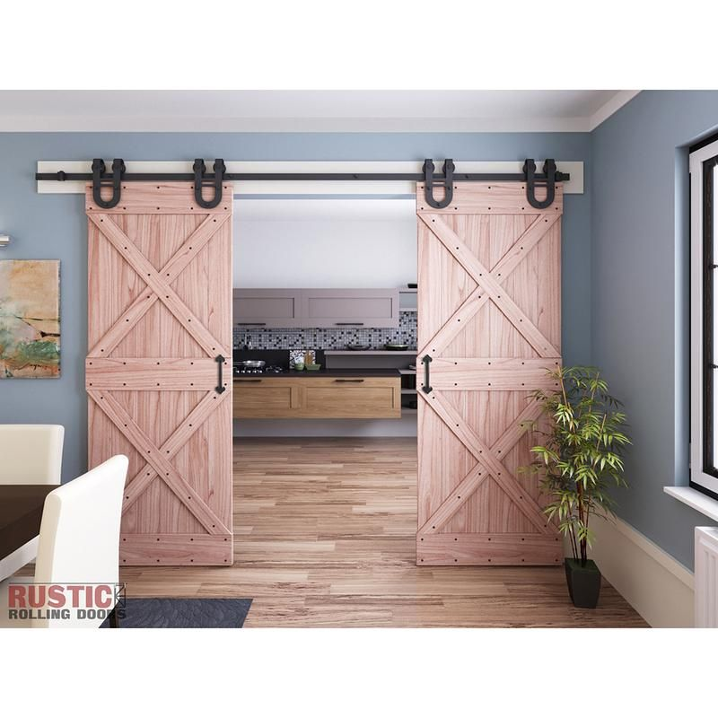 Horseshoe Single/Double Barn Door Hardware Kit, 4'