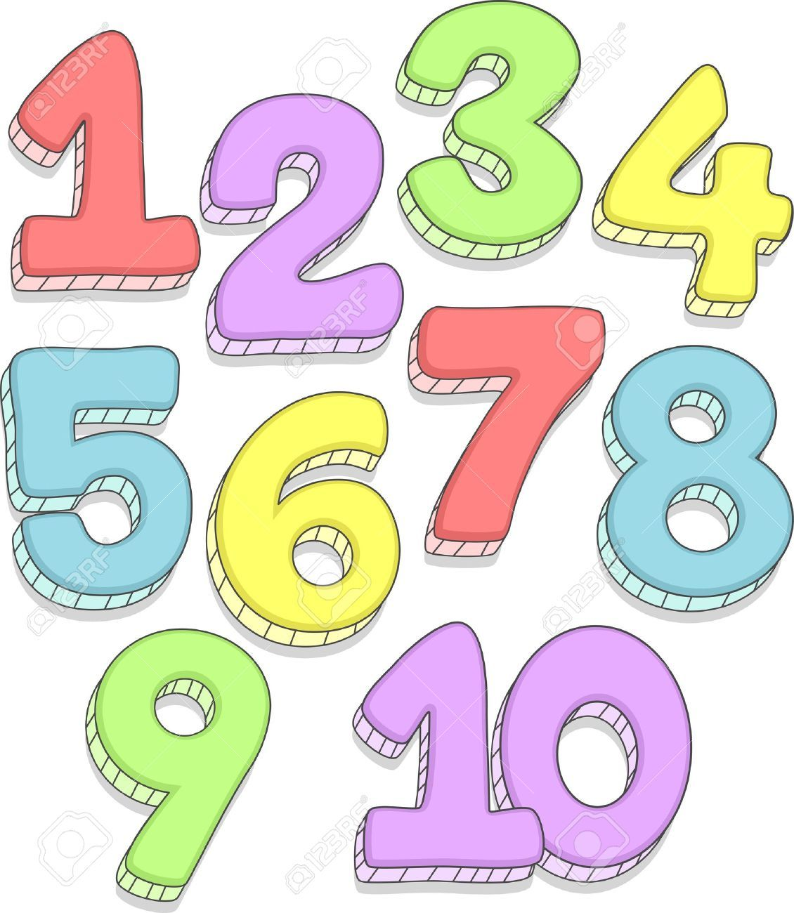 Cartoon Numbers 1 10 The Numbers 1 10 Stock Illustration