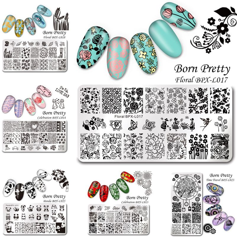 1 Pc BORN PRETTY Nail Art Stamp Template Stamping Plates Floral ...