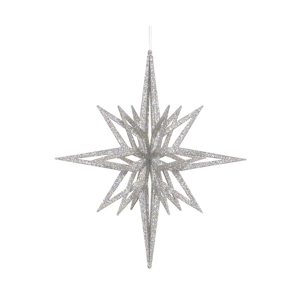 Bethlehem Glitter Star 32 Silver Glitter Stars Commercial Christmas Decorations Glitter Wine Glasses