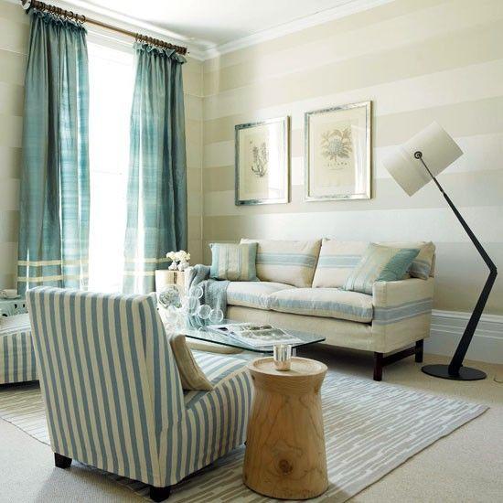 Blue Striped Living Room Living Room Designs Sofas Ideal Home Striped Wallpaper Living Room Living Room Sofa Design Wallpaper Living Room