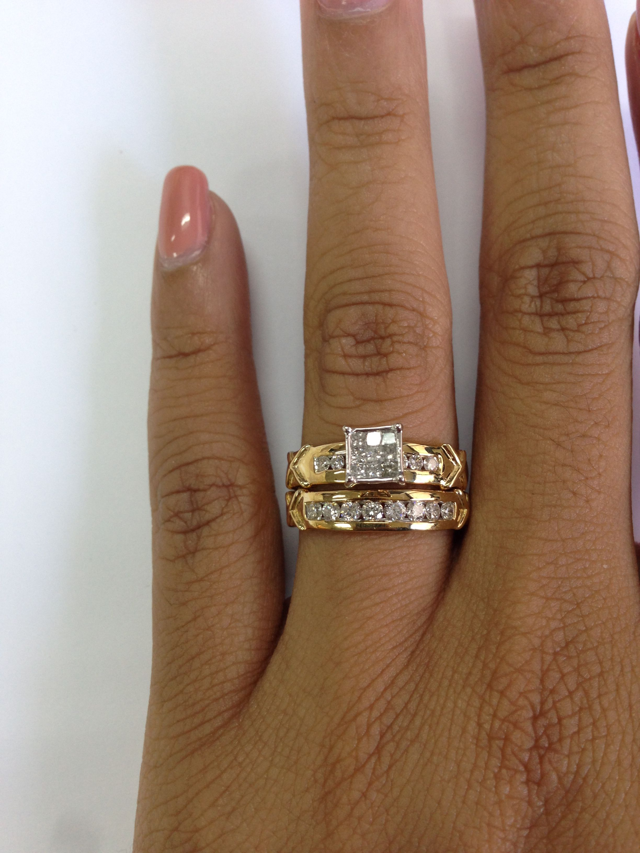 TW Diamond Trio Wedding Ring Set 10K White Gold