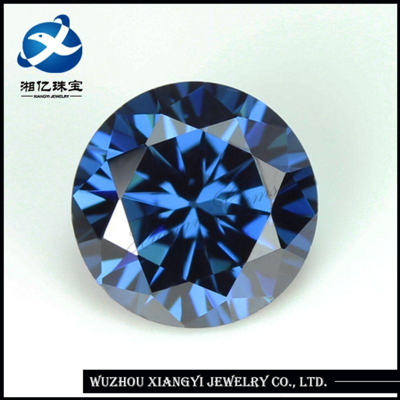 brilliant cut 7mm synthetic blue sapphire gemstone