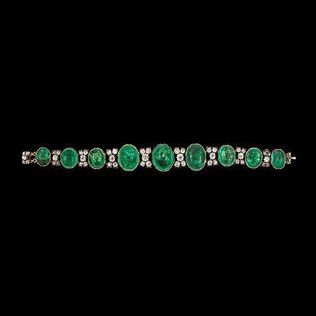 Bracelet, emeralds and diamonds, 19th cent