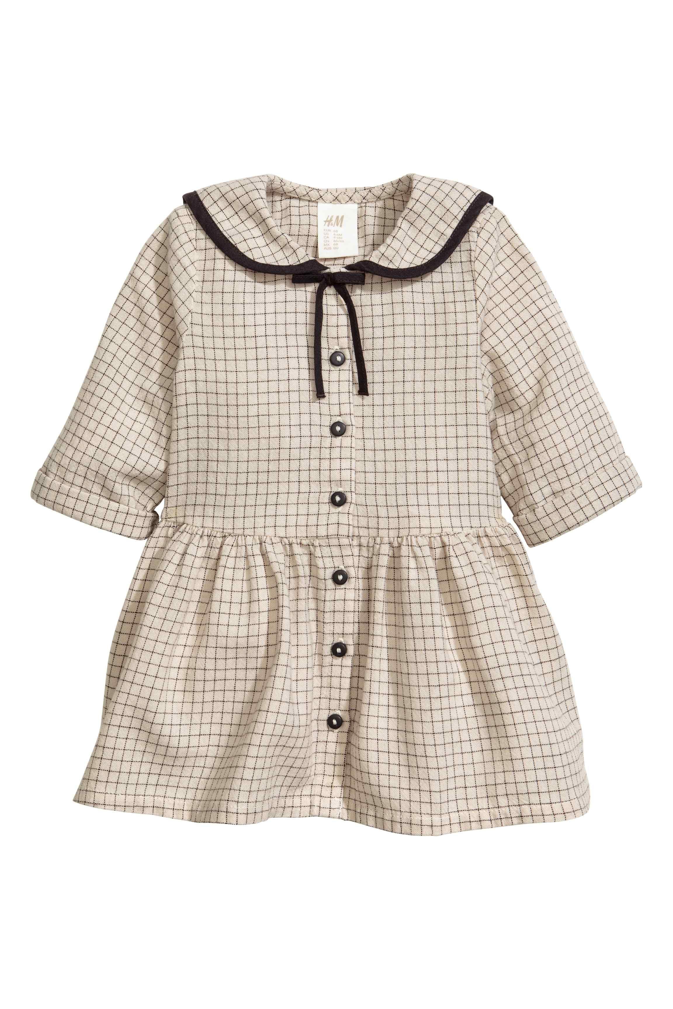 Bavlnené šaty - svetlobéžová/károvaná - DETI   H&M SK 1