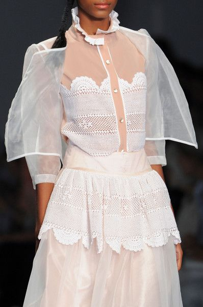 Bora Aksu at London Spring 2015 (Details) fine crochet mixed with wovens