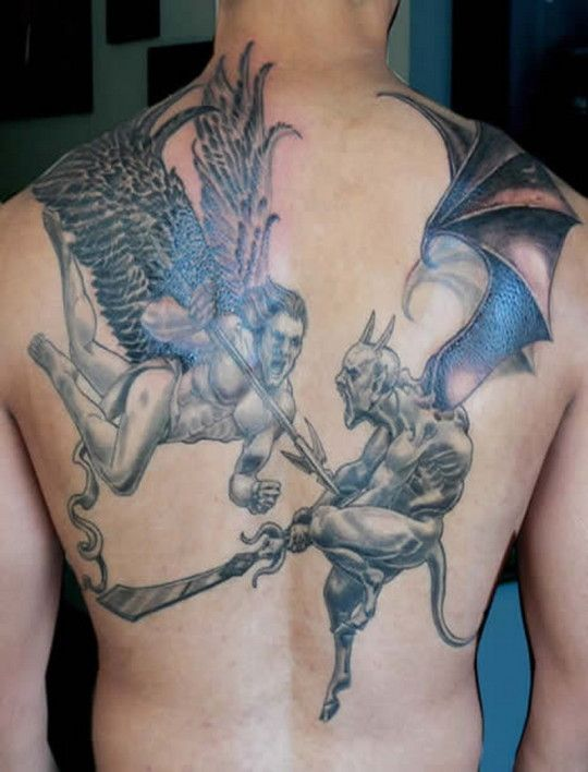 Devil Fighting Angel Tattoos