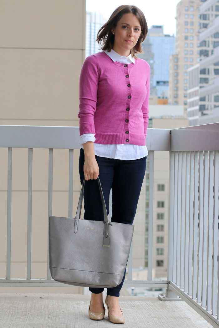 Women's Hot Pink Cardigan, White Dress Shirt, Navy Skinny Jeans ...