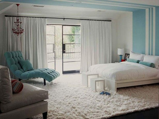 WANT that blue chair on the left side Bedroom Ideas Pinterest