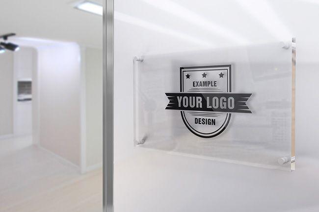 Glass Sign On Office Wall Mockup Mediamodifier Online Mockup Generator Sign Mockup Glass Sign Sign Board Design