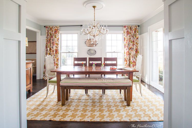 Bright And Colorful Yellow Modern Farmhouse Dining Room Makeover With Houndstooth Rug