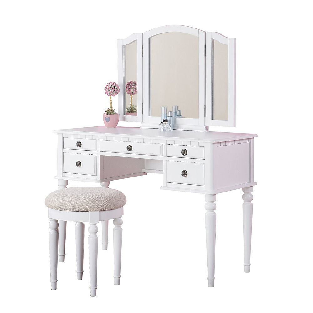 Bobkona St. Croix Collection Vanity Set with Stool White | Office ...